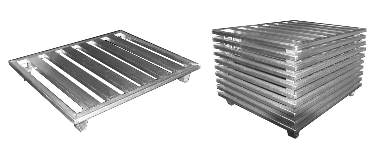 Nesting aluminum pallet for food processing